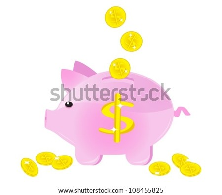 moneybox in the form of a pig with coins