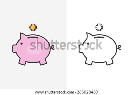 Moneybox line style icon and logo - stock vector