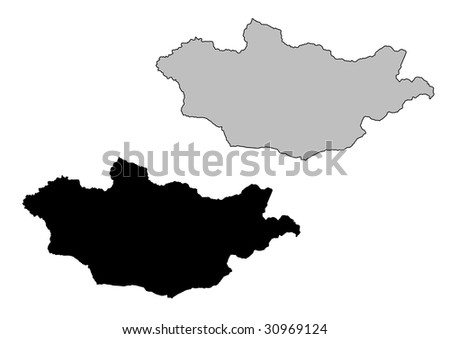 Mongolia map. Black and white. Mercator projection. - stock vector