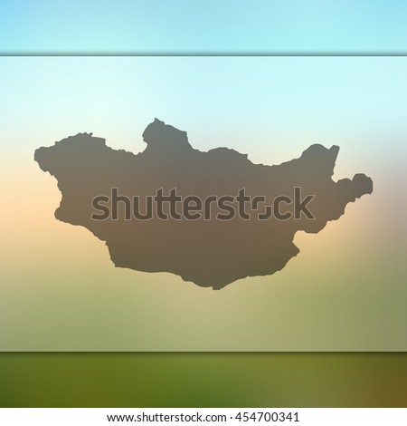 Mongolia map on blurred background. Blurred background with silhouette of Mongolia. Mongolia. Mongolia map. Blurred background. Mongolia vector map. Mongolia flag. Blur background. Vector map. - stock vector