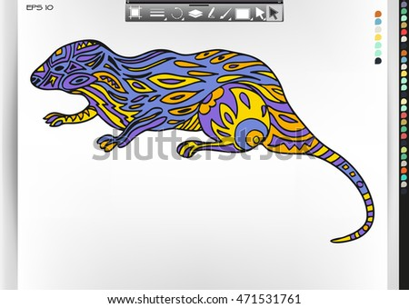 Mongoose. Animal patterns with hand-drawn doodle waves and lines. Vector illustration in bright colors.