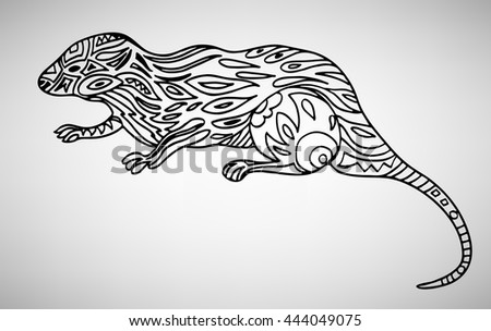 Mongoose. Hand-drawn with ethnic pattern. Coloring page - isolated on a white background. Zendoodle patterns. Vector illustration.
