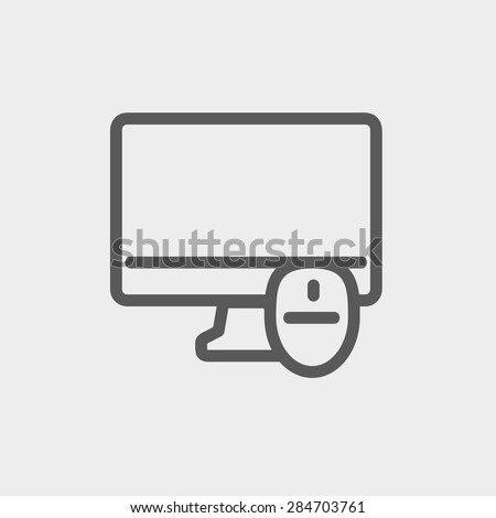 Monitor and computer mouse icon thin line for web and mobile, modern minimalistic flat design. Vector dark grey icon on light grey background. - stock vector