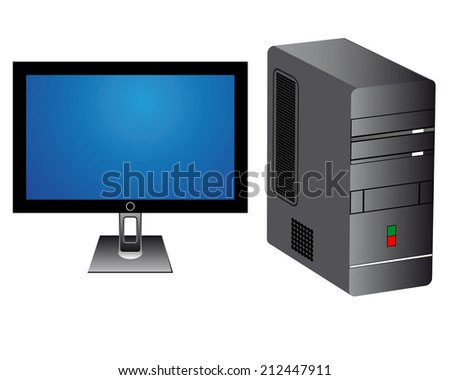 monitor and computer tower on white background