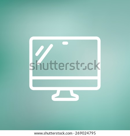 Monitor icon thin line for web and mobile, modern minimalistic falt design. Vector white icon on gradient mesh background. - stock vector