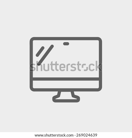 Monitor icon thin line for web and mobile, modern minimalistic flat design. Vector dark grey icon on light grey background. - stock vector