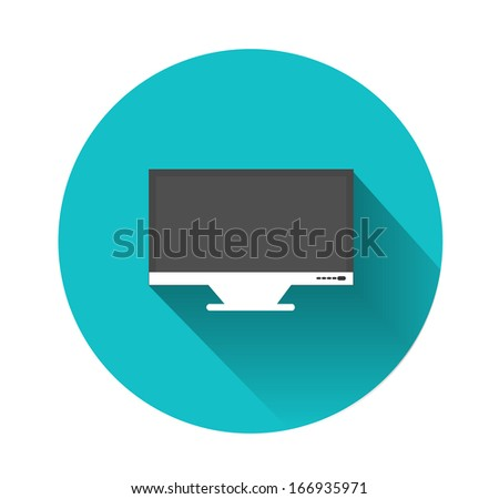 Monitor in flat design - stock vector