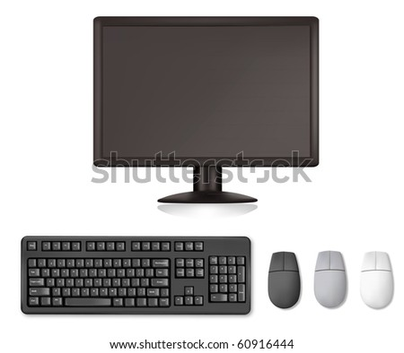 Monitor, keyboard and mouses. Illustration for your design project. Vector - stock vector