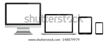 monitor, notebook tablet pc and mobile phone with white displays - stock vector