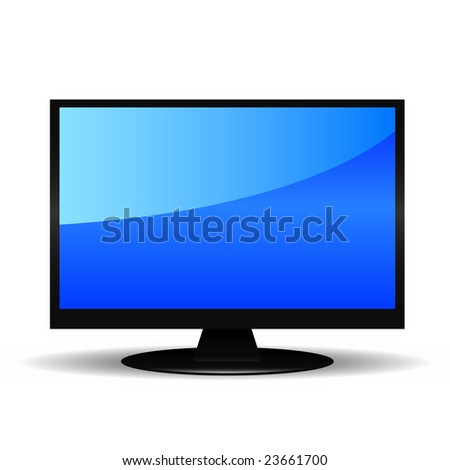 Monitor or TV with shine - stock vector