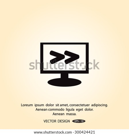 Monitor with Arrowhead right icon - stock vector