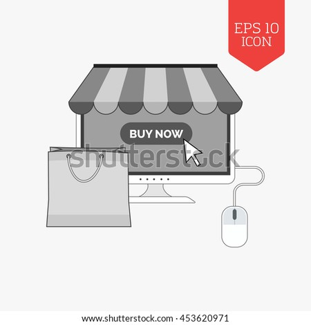 Monitor with awning and shopping bag icon, online shopping concept. Flat design gray color symbol. Modern UI web navigation, sign. Illustration element - stock vector