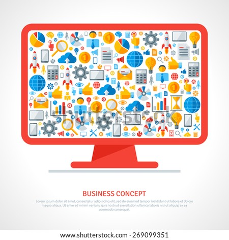 Monitor with flat business icons inside. Vector illustration. Business startup concept. Online services. Marketing concept in flat style. Cloud computing technologies. - stock vector
