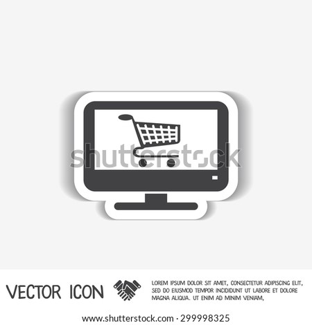 monitor with symbol shopping cart, shopping in Internet-shop, icon online shopping - stock vector