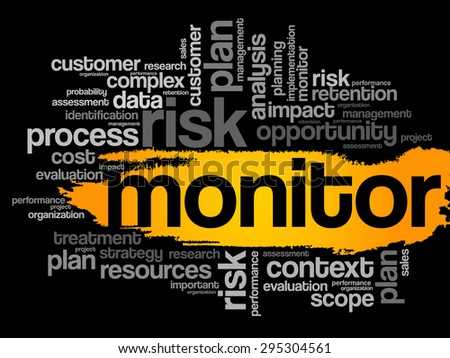 Monitor word cloud, business concept - stock vector