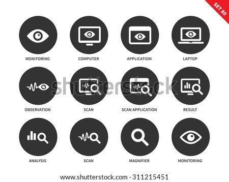 Monitoring and observation vector icons set. Icons for security and statistic systems. Web pages and apps items, computer, laptop, scanning sign, analysis, result. Isolated on white background - stock vector