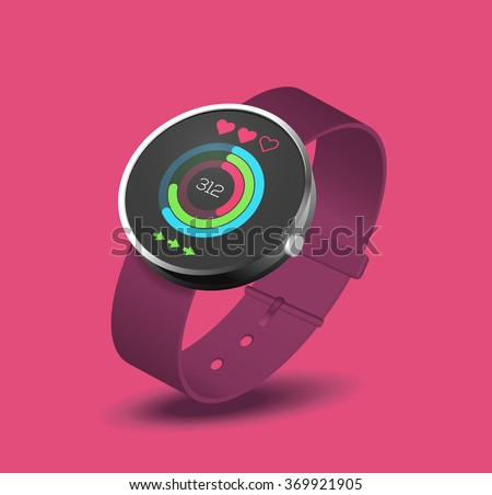 Monitoring the heart rate and fitness statistics on smart watches. Tracking pulse  when doing workout exercise and running or cycling sport session.