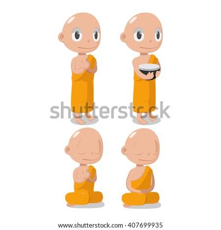 Monk Buddha Cartoon Cute Character Vector - stock vector