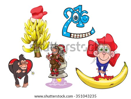 Monkey - a symbol of year and a banana fir-tree.vector