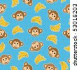monkey and banana seamless pattern wallpaper with clipping mask - stock vector