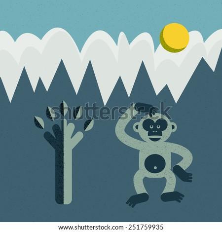 Monkey and tree vector cartoon illustration. Flat design. - stock vector