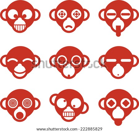 Monkey Ape head avatar cartoon character profile Fun set, vector illustration.