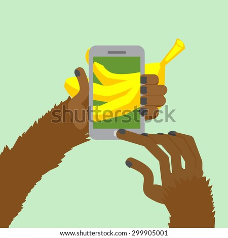Monkey banana shoots. Posting to Internet a photo of  food. Animal clicks to your Smart phone with your fingers. Vector illustration. - stock vector