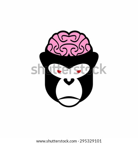 Monkey brains vector illustration logo head animal pink brain and black monkey open