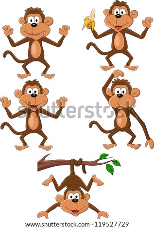Monkey cartoon - stock vector