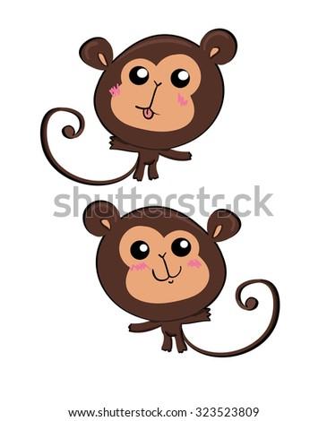 monkey, children's illustration, animal - stock vector