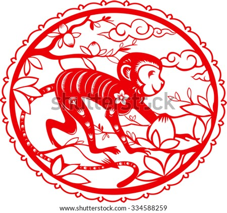 Monkey. Chinese folk paper cutting. Symbol of 2016 New Year.