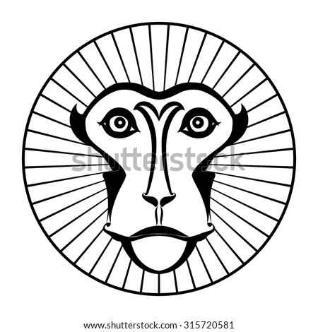 Monkey - design template (Japanese macaque) - stock vector