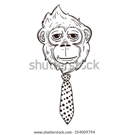 Monkey face tie like boss line stock vector 354009794 shutterstock monkey face with tie like a boss with line art style ccuart Image collections