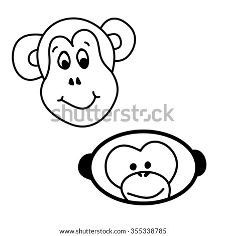 Monkey faces fun.Two graphic illustrations. Monkey faces painted. On white background vector. For children's book illustration - stock vector