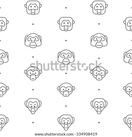 Monkey faces pattern, logo and icon. Line art. Seamless pattern tile for print. Monkey head and ape for avatar, portrait, profile, print. Ape icons, vector illustration. New Year, monkey, China, 2016. - stock vector