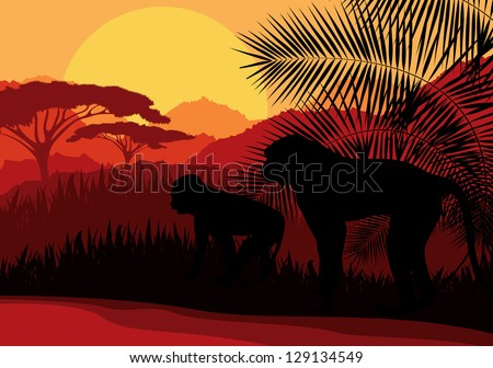 Monkey family in Africa wild nature mountain landscape background illustration vector - stock vector