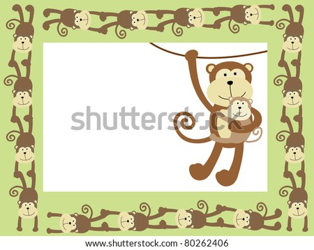 Monkey frame or card - stock vector