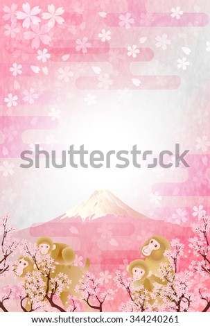 Monkey Fuji cherry tree New Year's card