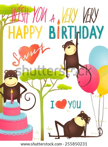 Monkey Fun Happy Birthday Card with Lettering. Congratulating cheerful hand drawn monkeys. Vector illustration EPS10. - stock vector