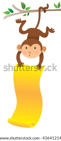Monkey hanging upside down with banner. Vector illustration of a cute monkey displaying a banner. - stock vector