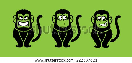 Monkey illustrations with various facial expressions/Vector Monkeys - stock vector