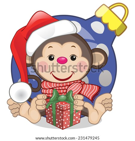 Monkey in a Santa hat with gift  - stock vector