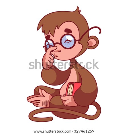 Monkey in glasses with book in hand. Symbol of 2016 - a monkey. Vector Cartoon character on a white background.