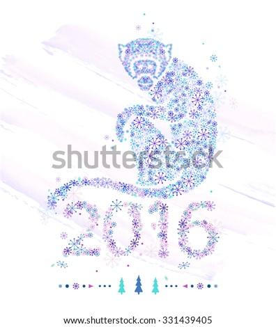 Monkey of snowflakes / decorative symbol of the new year /  chimpanzee - stock vector