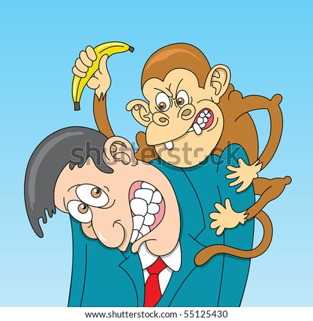 Monkey on His Back - stock vector