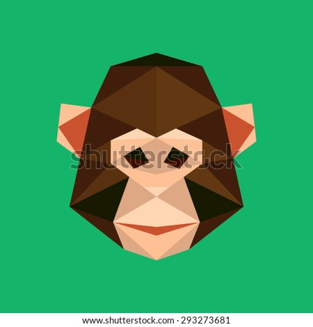 Monkey portrait. Abstract low poly design. Vector illustration. - stock vector