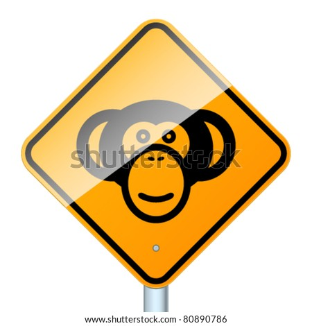 Monkey road sign. High-detailed vector sign isolated on white background - stock vector