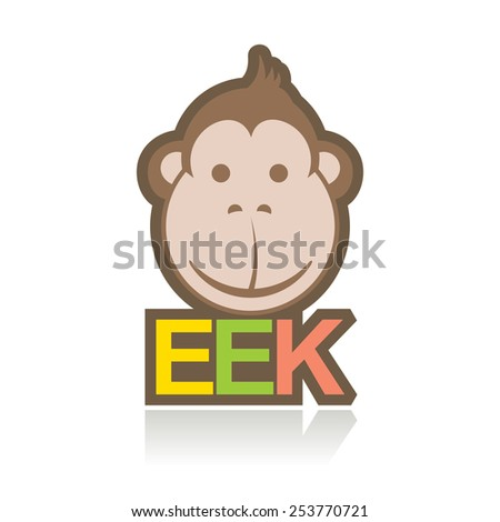 monkey smiling, funny cartoon style - stock vector