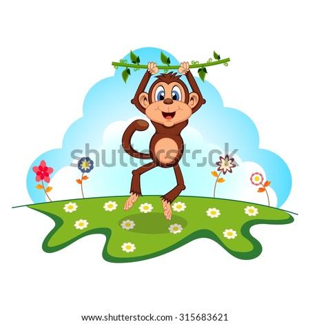 Monkey swinging on vines cartoon in a garden - stock vector