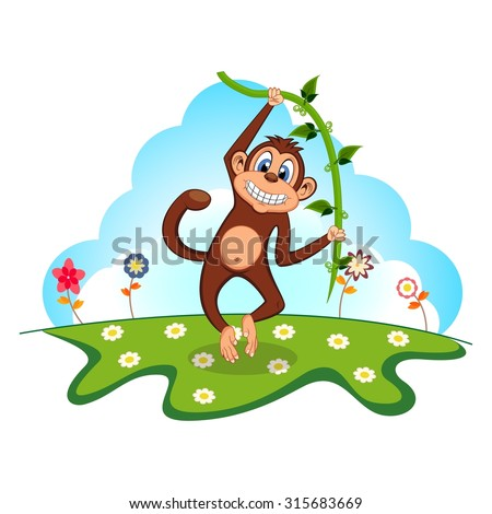 Monkey swinging on vines in a garden - stock vector